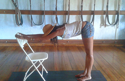Yoga pose with chair